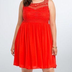 TORRID SIZE 18 Red/Orange crochet dress